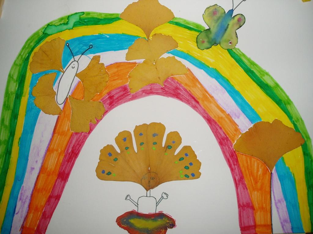 Motýlí louka s vílou (použity sušené listy Gingo Biloba) malovala Zuzanka