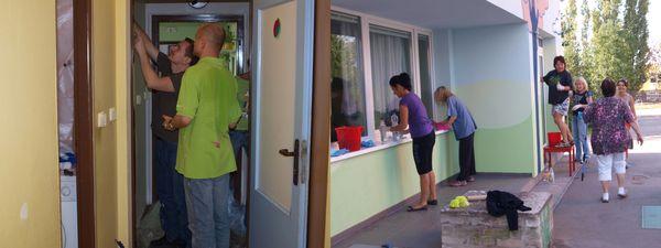 Dobrovolníci z T-Systems malují a myjí okna
